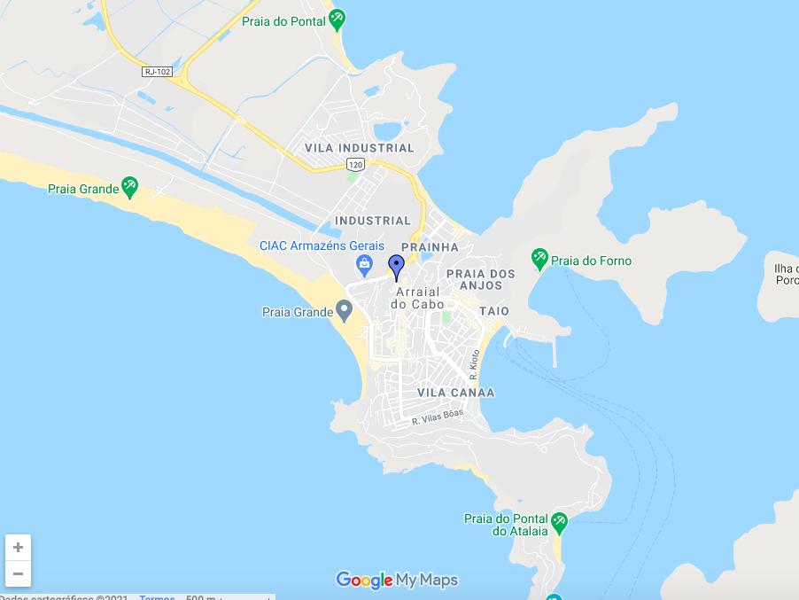 Mapa da cidade de Arraial do Cabo